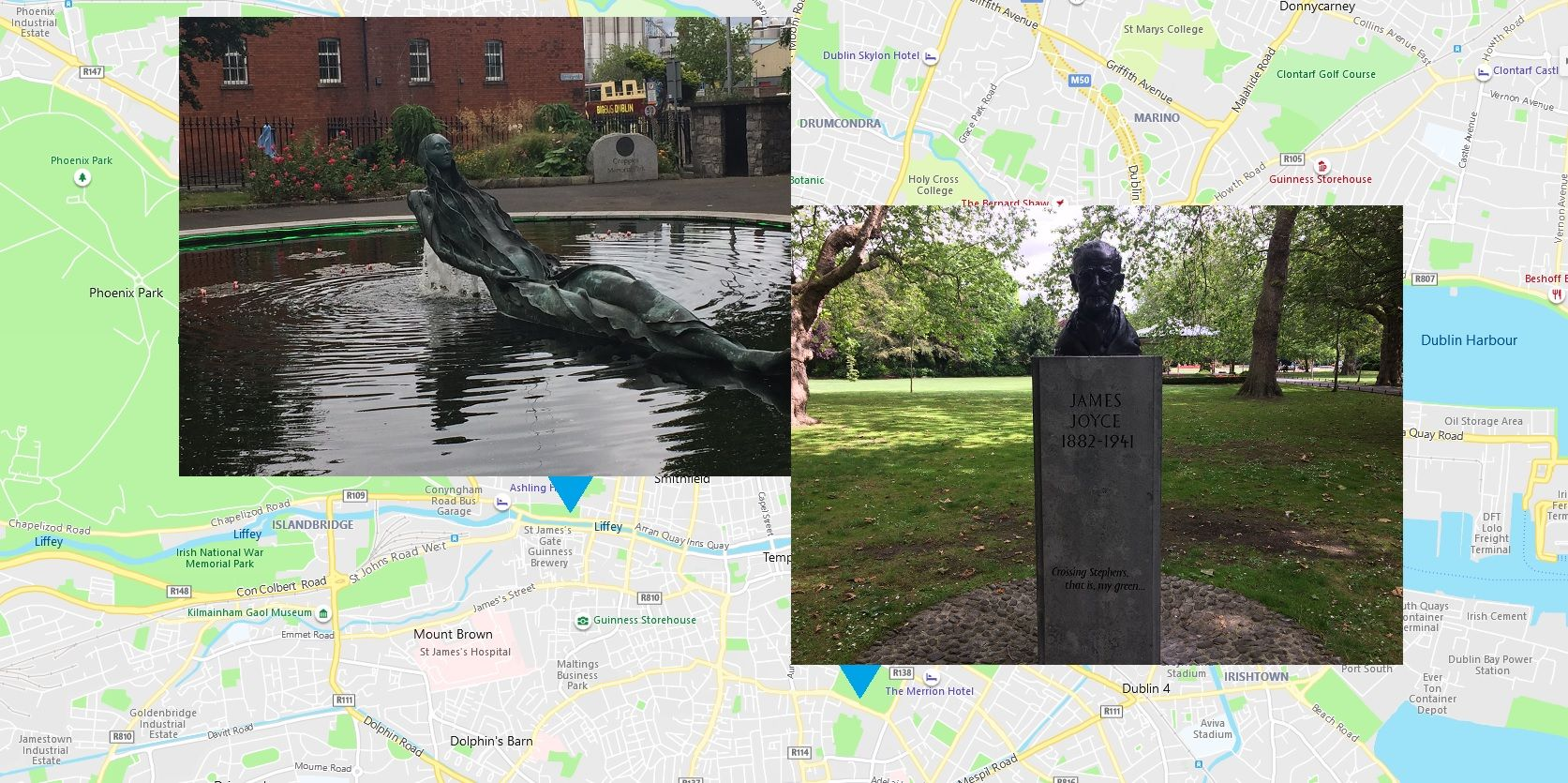 Anna Livia and James Joyce on opposing sides of the River Liffey, but together in celebratory wanderings as contained within the one Dublin