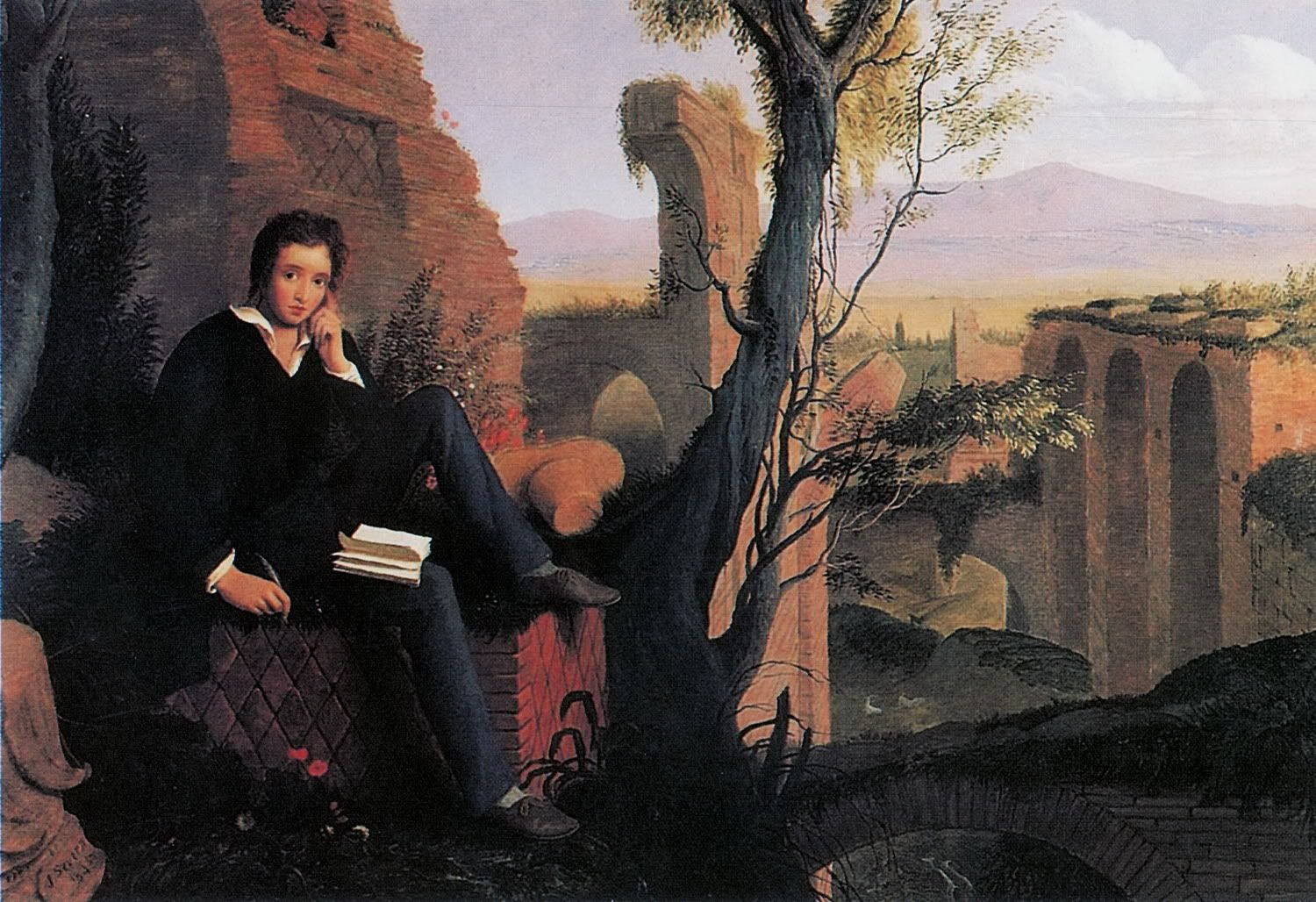 Posthumous Portrait of Shelley Writing Prometheus Unbound by Joseph Severn