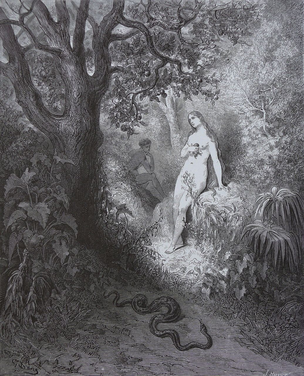Illustration for Paradise Lost by Gustave Doré, depicting Adam, Eve, and the Serpent