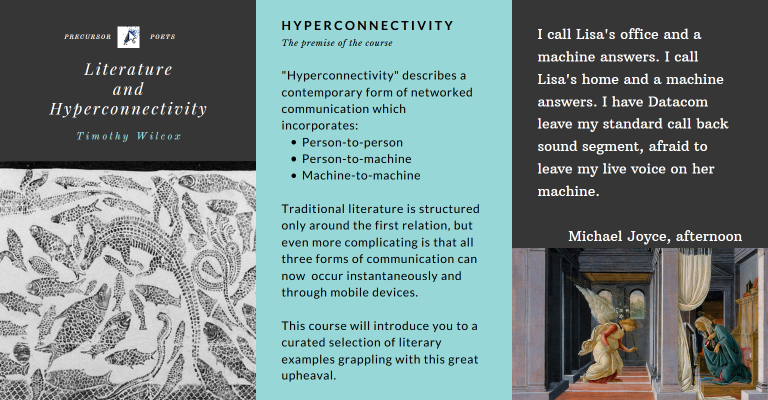 "Syllabus preview for ""Literature and Hyperconnectivity"""