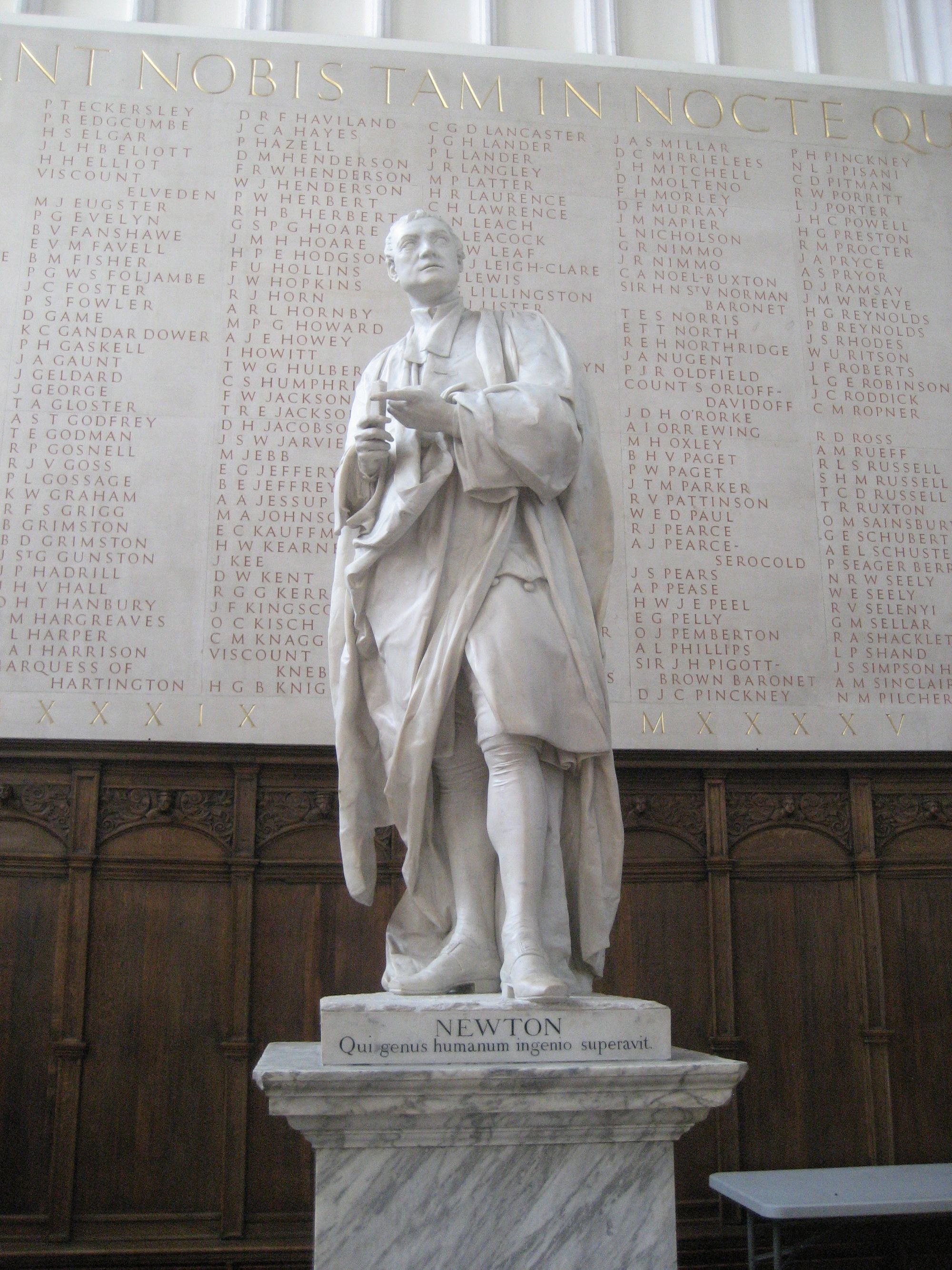 Statue of Isaac Newton at Trinity College, Cambridge