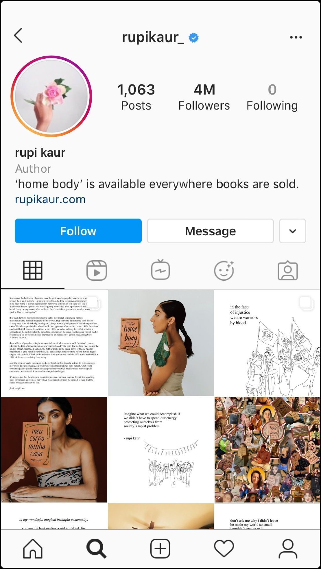 Rupi Kaur's Instagram page as of 12/1/2020.