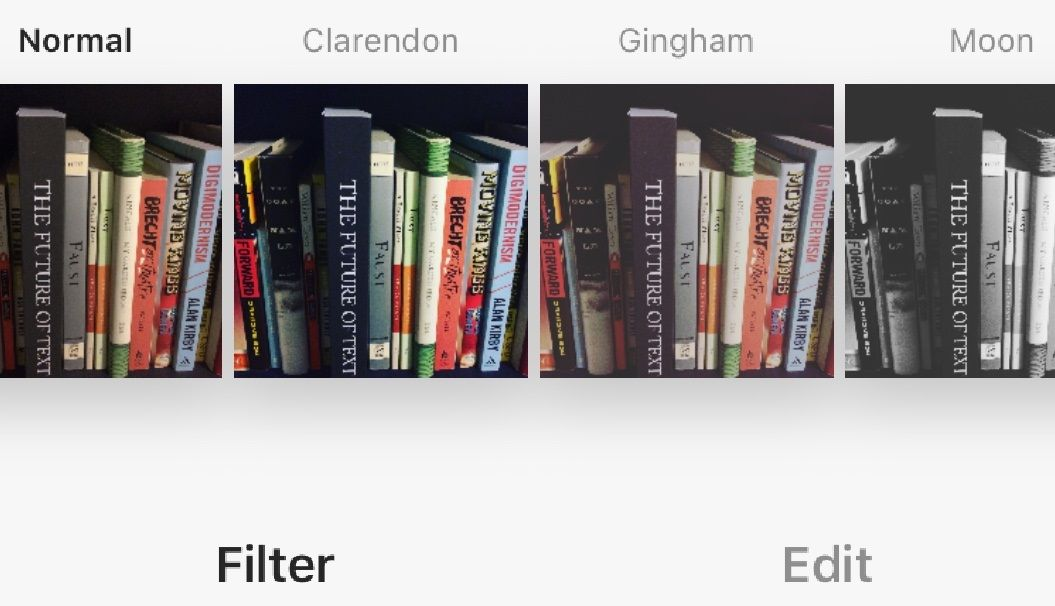 Examples of simple filters currently on Instagram.