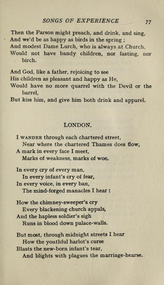 London as published in a 1905 collection of Blake's poems, edited by Yeats.