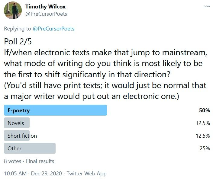Poll 2/5 If/when electronic texts make that jump to mainstream, what mode of writing do you think is most likely to be the first to shift significantly in that direction? (You'd still have print texts; it would just be normal that a major writer would put out an electronic one.) E-poetry 50% Novels 12.5% Short fiction 12.5% Other 25%