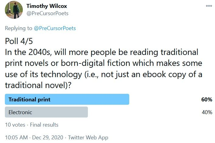 Poll 4/5 In the 2040s, will more people be reading traditional print novels or born-digital fiction which makes some use of its technology (i.e., not just an ebook copy of a traditional novel)? Traditional print 60% Electronic 40%