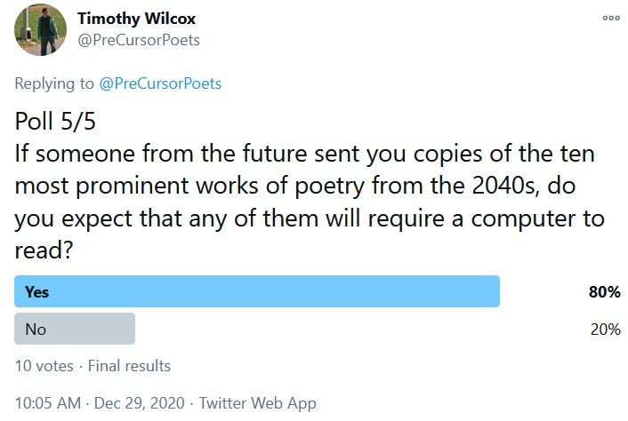 Poll 5/5 If someone from the future sent you copies of the ten most prominent works of poetry from the 2040s, do you expect that any of them will require a computer to read? Yes 80% No 20%