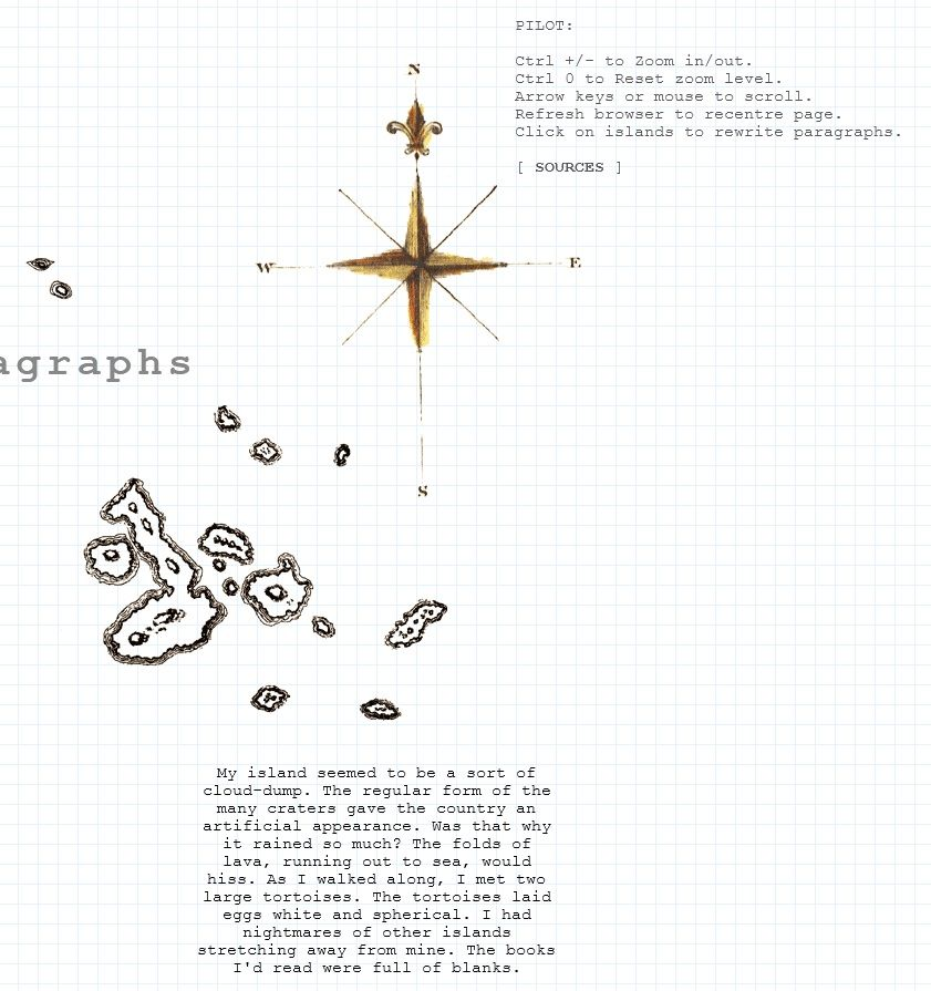 Part of the opening screen of ...and by islands I mean paragraphs