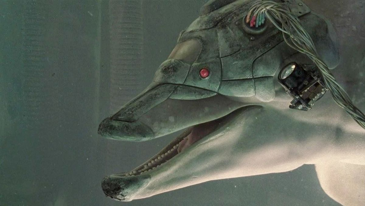 Jones, a cybernetic dolphin, as depicted in the film