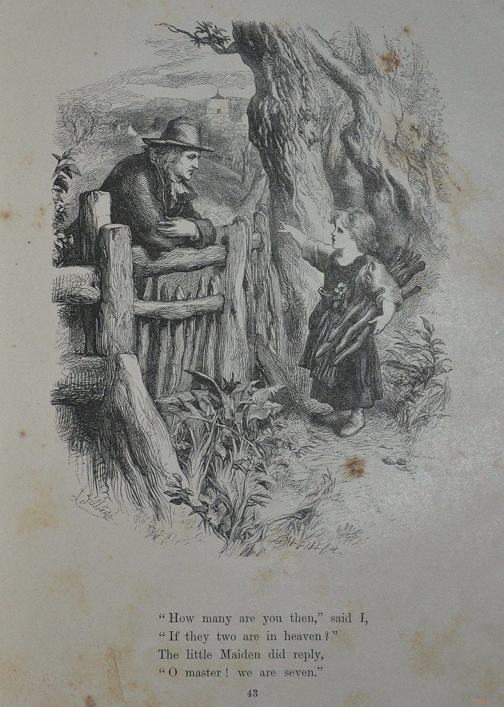 """A passage from Wordsworth's """"We Are Seven"""" with engraving from the Brothers Dalziel: A man leans over a fence and speaks to rustic cottage girl who is gathering wood."""