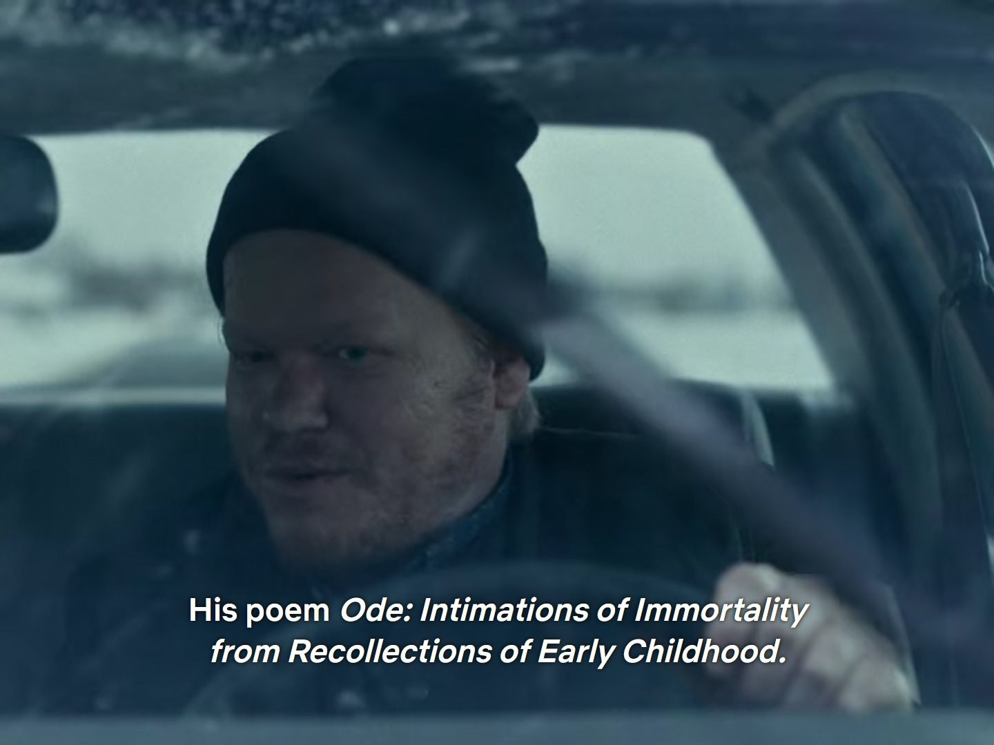 """Still from I'm Thinking of Ending Things: Jake says, """"His poem Ode: Intimations of Immortality from Recollections of Early Childhood"""""""