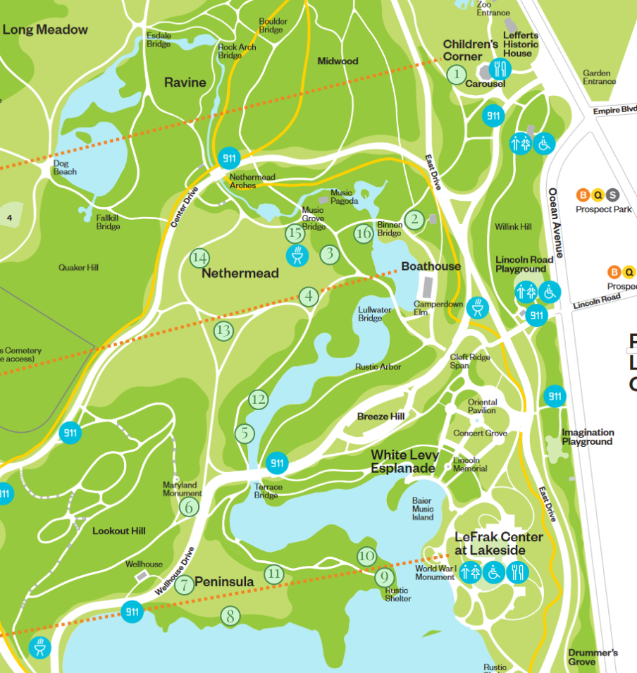 Map of Prospect Park with reading spot markers